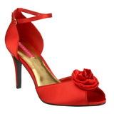 Červený Satén 9,5 cm ROSA-02 sandály vysoký podpatek