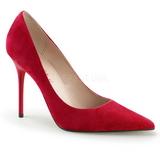 Červený Semiš 10 cm CLASSIQUE-20 Lodičky Dámské Stiletto Podpatků