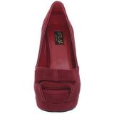 Červený Semiš 13,5 cm BELLA-10 Platformě Lodičky Open Toe