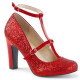 Červený Třpyt 10 cm QUEEN-01 velké velikosti lodičky obuv
