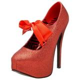 Červený Třpyt 14,5 cm Burlesque TEEZE-04G dámské boty na vysokém podpatku