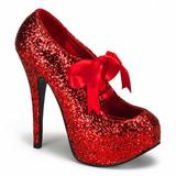 Červený Třpyt 14,5 cm Burlesque TEEZE-10G Platform Lodičky Dámské