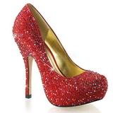 Červený Třpytivé Kamínky 13,5 cm FELICITY-20 dámské boty na podpatku