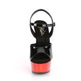 Červený chrom platformě 15 cm DELIGHT-609 pleaser vysoké podpatky