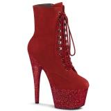 Červený glitter 18 cm ADORE-1020FSMG kotnikové kozačky pro tanec na tyči