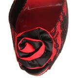 Červený krajky tkaniny 13,5 cm BELLA-17 Večerní Sandály s podpatkem