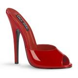 Červený pantofle 15 cm DOMINA-101 fetiš pantofle na podpatku