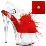 Červený peří marabu 18 cm ADORE-708MF Boty pro tanec na tyči