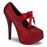 Červený štrasovými kamínky 14,5 cm Burlesque TEEZE-04R Platformě Lodičky Dámské