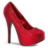Červený štrasovými kamínky 14,5 cm Burlesque TEEZE-06R Platformě Lodičky Dámské