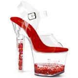 Červený třpytky 18 cm LOVESICK-708GH Boty na podpatku pro tanec na tyči
