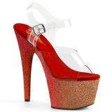 Červený třpytky 18 cm Pleaser ADORE-708OMBRE Boty na podpatku pro tanec na tyči