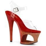 Červený třpytky 18 cm Pleaser MOON-708OMBRE Boty na podpatku pro tanec na tyči
