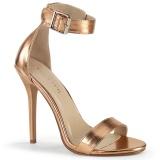 zlato růžový 13 cm Pleaser AMUSE-10 dámské sandály na podpatku